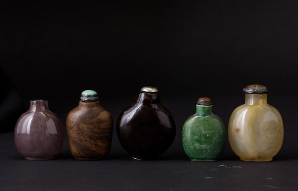 Five snuff bottles, China, Qing Dynasty, 1800s