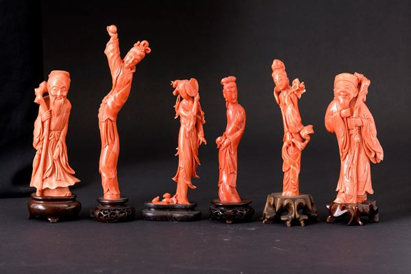 Six coral figures, China, early 1900s