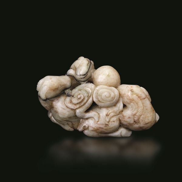 A jade and russet group, China, Ming Dynasty