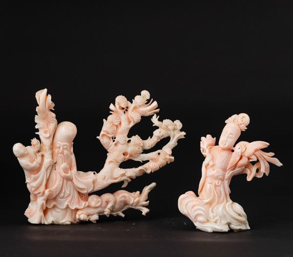 Two pink coral groups, China, early 1900s A female figure with a phoenix and a wiseman with disciples
