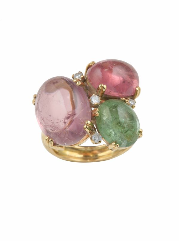 Tourmaline and diamond ring and a pair of amethyst and gold earrings signed Paloma Picasso Tiffany & Co.