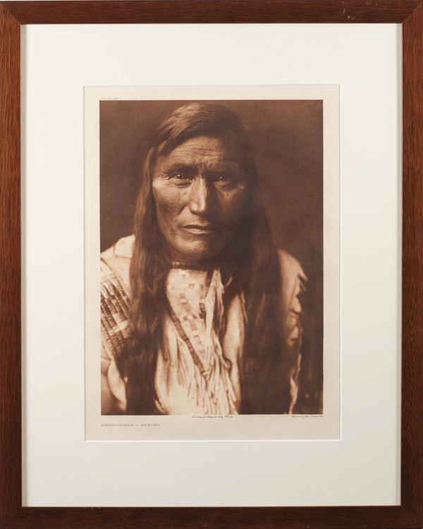 Edward Sheriff Curtis (1868-1952) Head Dress Atsina - From The North American Indian 1908