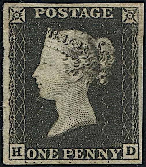 """1840, GREAT BRITAIN, ONE PENNY BLACK """"HD""""."""