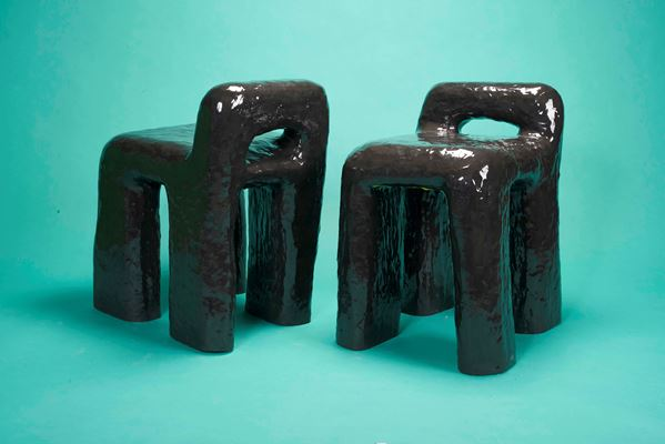 Diego Faivre - Set of 2 Big black chairs made in 1387 minutes