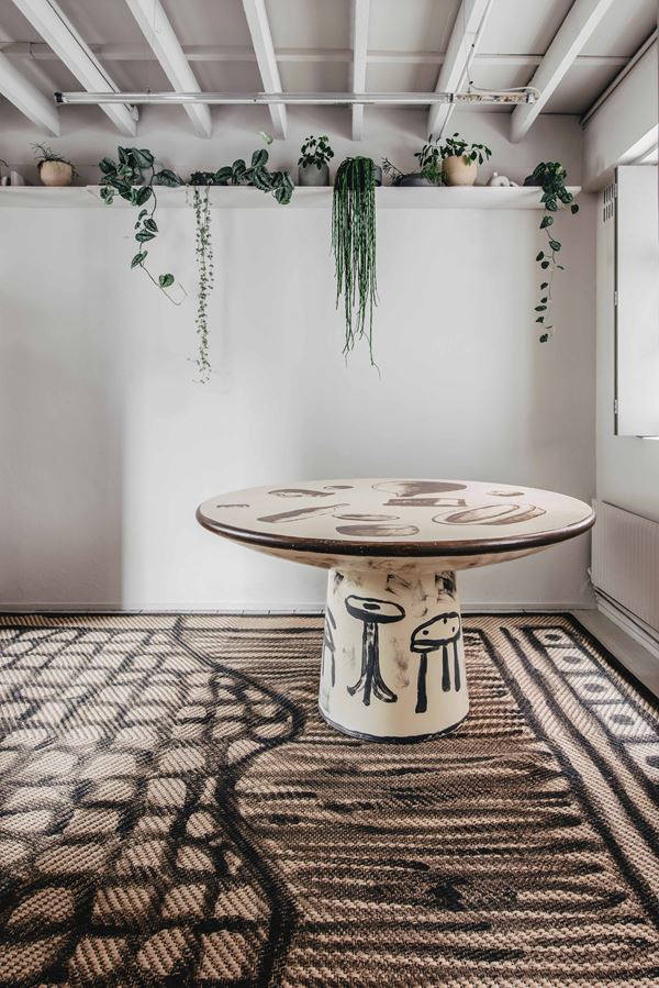 Roly-Poly Dining Table - Hand painted